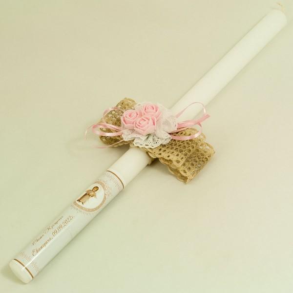 Свещ за кръщене с украса К04