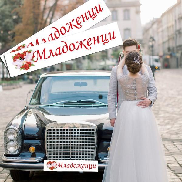 Сватбени стикери за автомобилни номера 03