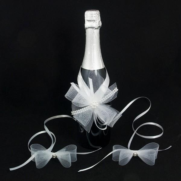 Украса за шампанско и чаши 01