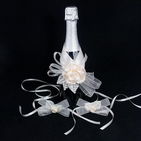 Украса за шампанско и чаши 02