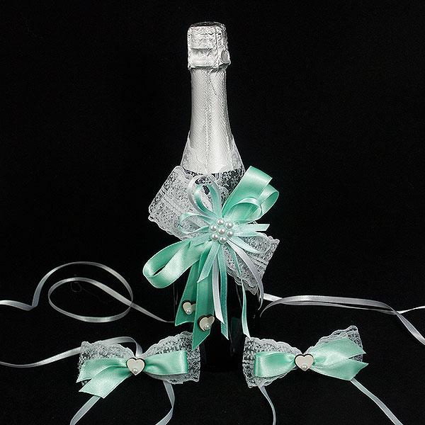 Украса за шампанско и чаши 04