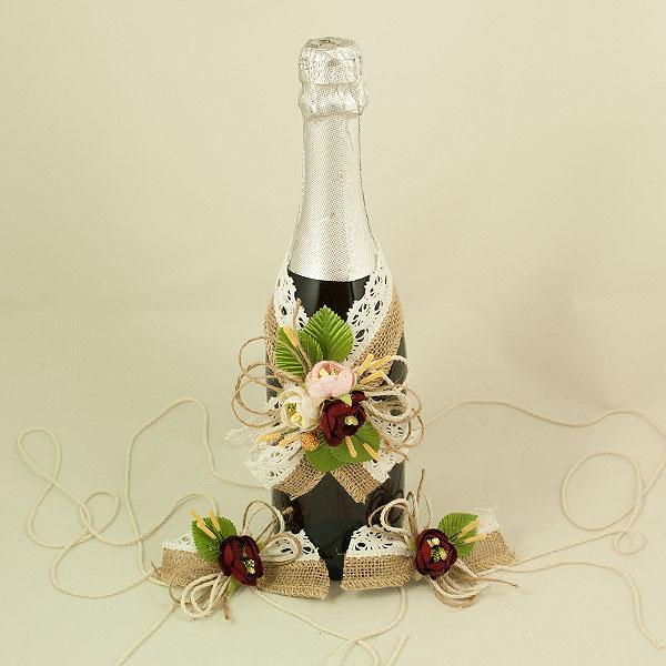 Украса за шампанско и чаши 06