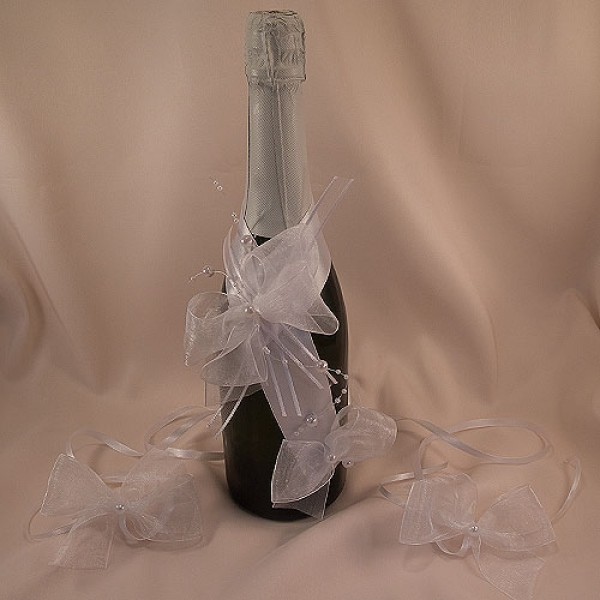 Украса за шампанско и чаши 08