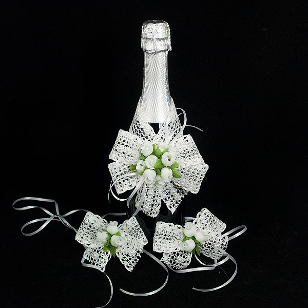 Украса за шампанско и чаши 09