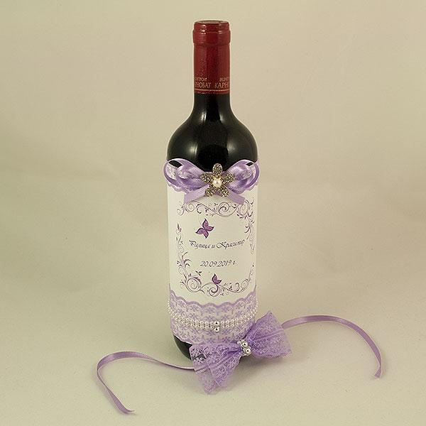 Украсена бутилка червено вино 07